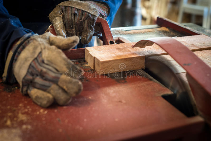 Wood industry. Picture of a Wood industry machinery. Making wood boxes for agriculture products stock images