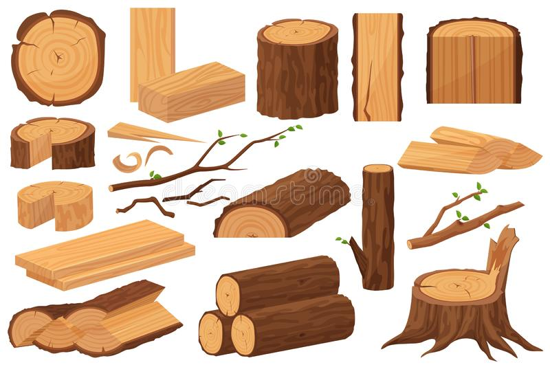 Wood industry raw materials. Realistic production samples collection. Tree trunk, logs, trunks, woodwork planks, stumps vector illustration