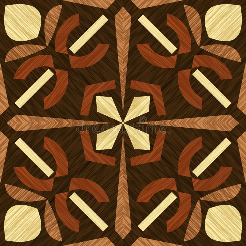 Wood inlay tile, wooden textured patterns, geometric decorative ornament in light and dark types of wood, wood art. Object, vector design vector illustration