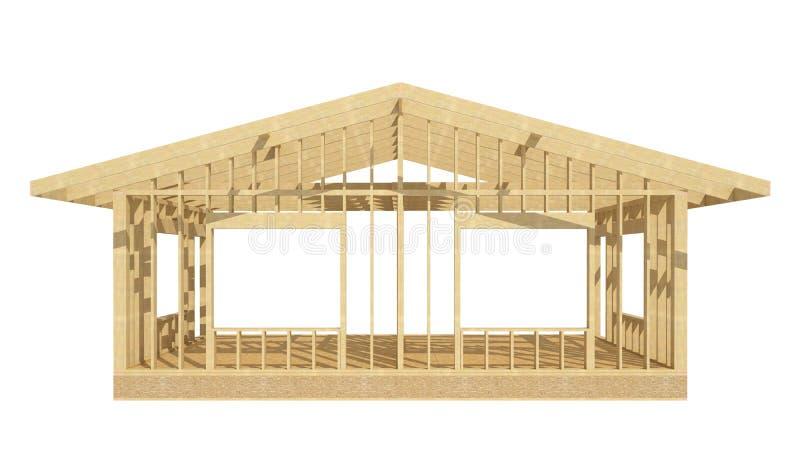 Wood inrama för nytt hem för bostads- konstruktion royaltyfri illustrationer
