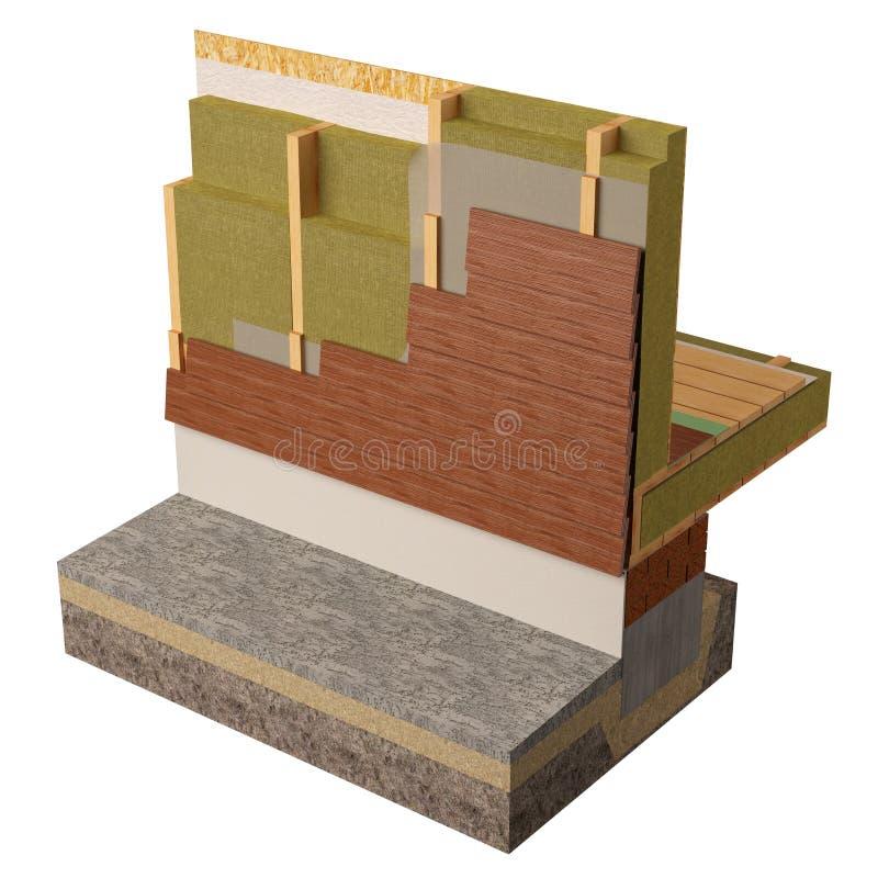 Wood inrama husisolering, 3D framför, datoren frambragda bilden arkivfoto