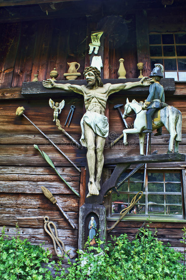 The wood Jesus Christ and others stock photo