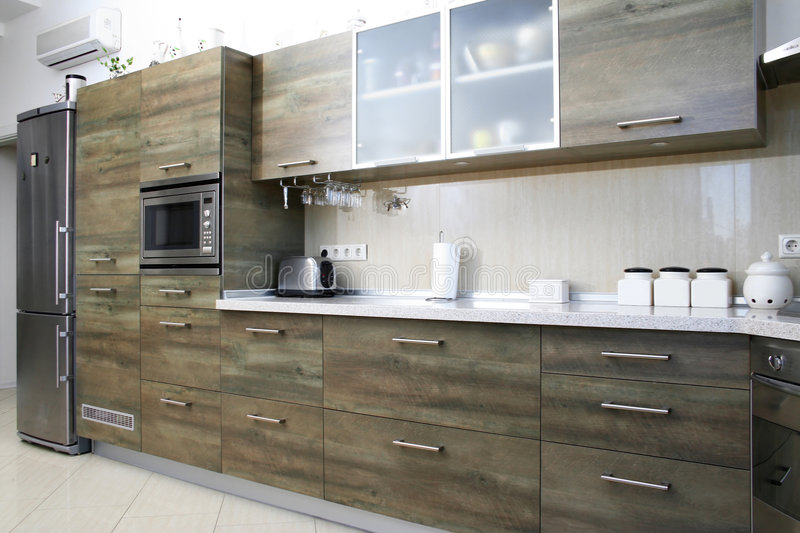 Wood kitchen stock images