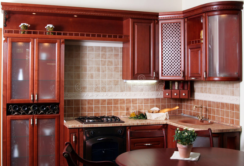 Wood kitchen royalty free stock images