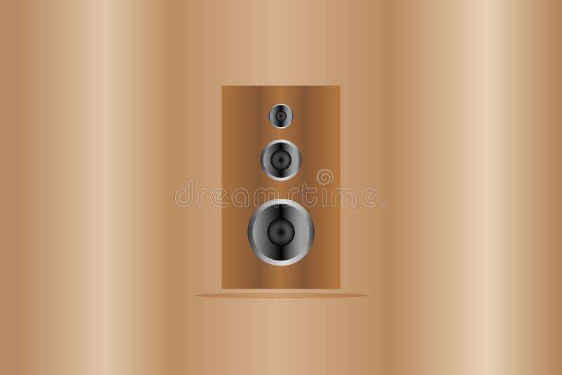 Wood kroppsymbol för högtalare och, som har solid bas- mitt- signal med sopran på träbakgrundsillustration royaltyfri illustrationer