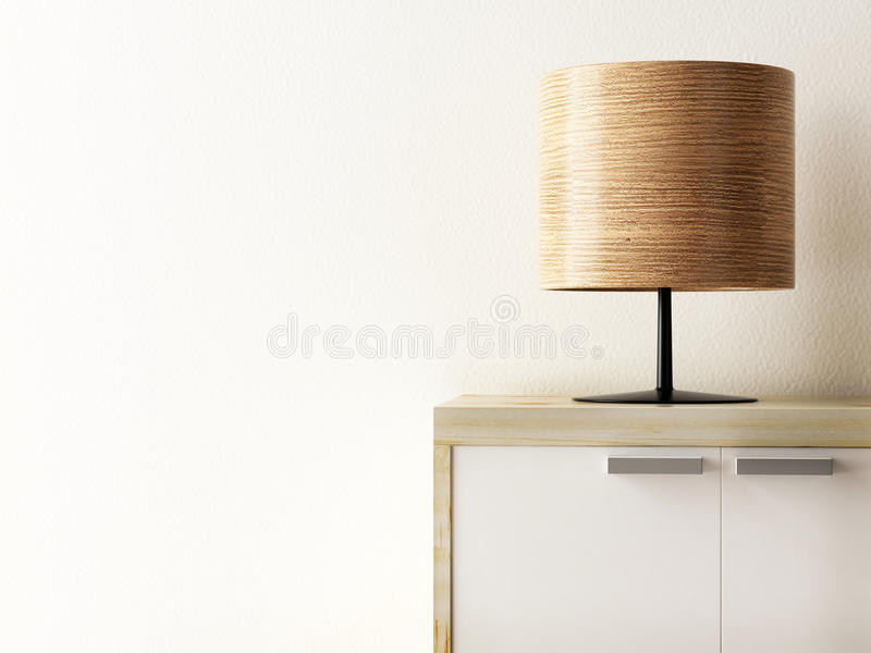 Wood lamp on cabinet closeup, life style concept. 3d rendering royalty free illustration