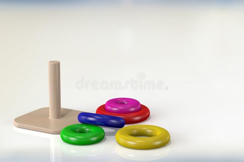 wood leksaker för tolkning 3d för ungar på vit bakgrund arkivfoto