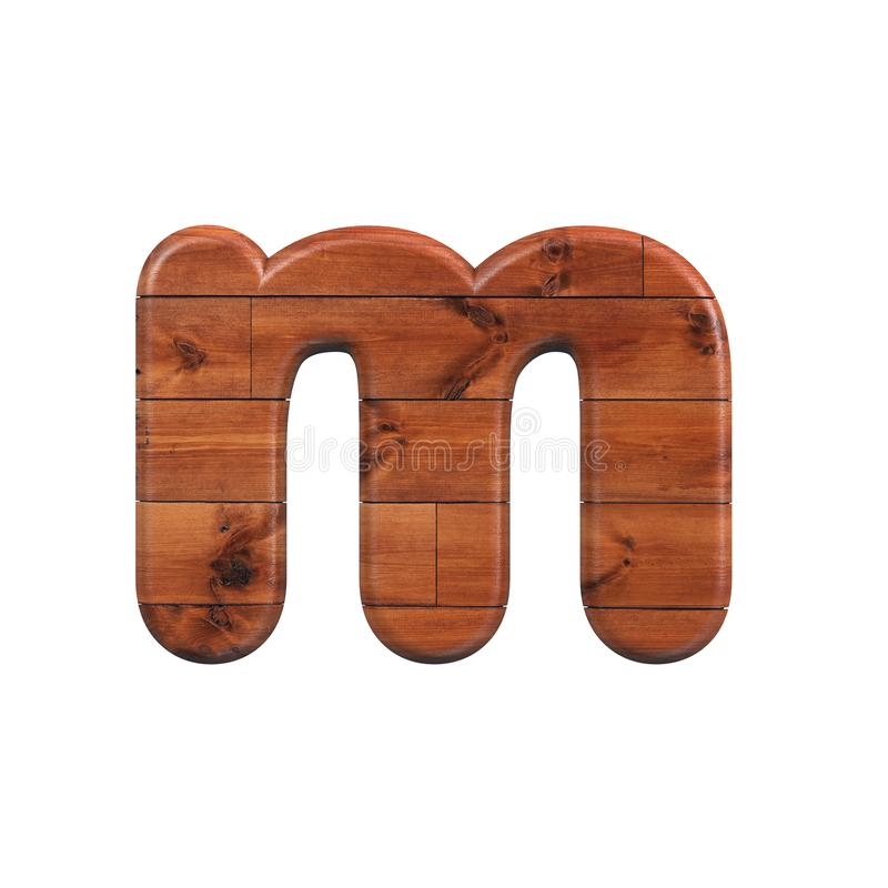 Wood letter M - Lowercase 3d wooden plank font - Suitable for nature, ecology or decoration related subjects royalty free illustration