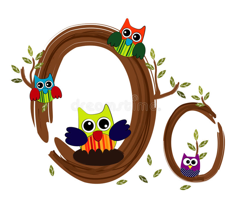 Wood Letter O owl Vector. Nature royalty free illustration
