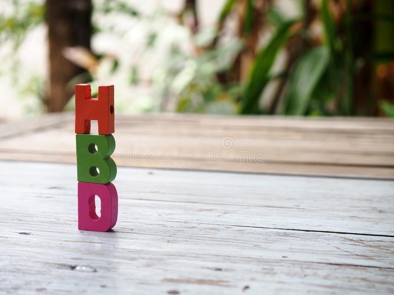 Wood letter in word HBD stock photos