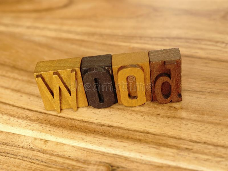Wood - Letterpress Letters. Word wood, letterpress letters, wooden background royalty free stock photography
