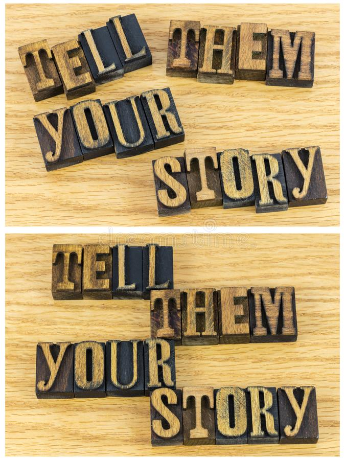 Tell them your story letterpress letters stock photos