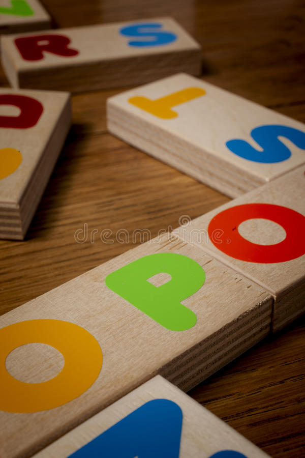 Wood letters. On the table royalty free stock images