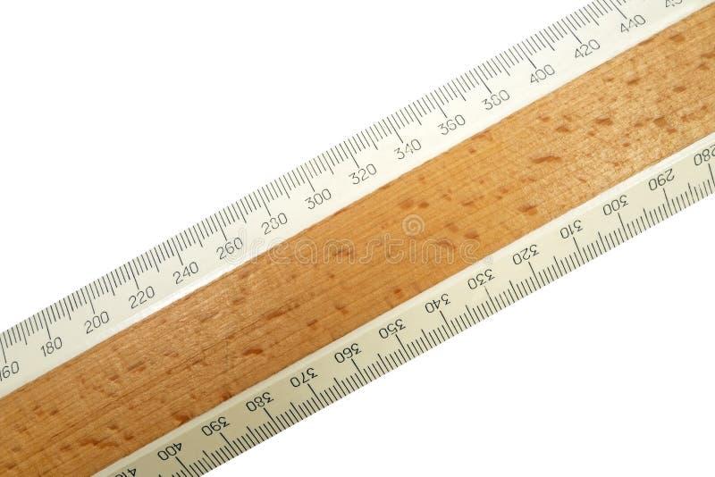 Wood linjal arkivfoto