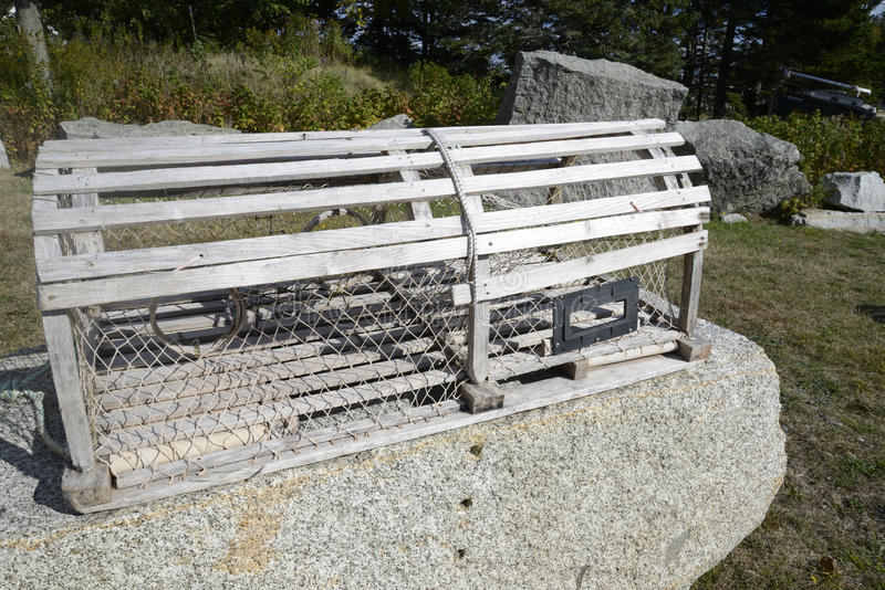 Wood lobster trap royalty free stock image