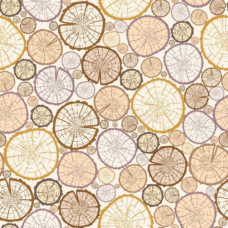 Wood log cuts seamless pattern background royalty free illustration
