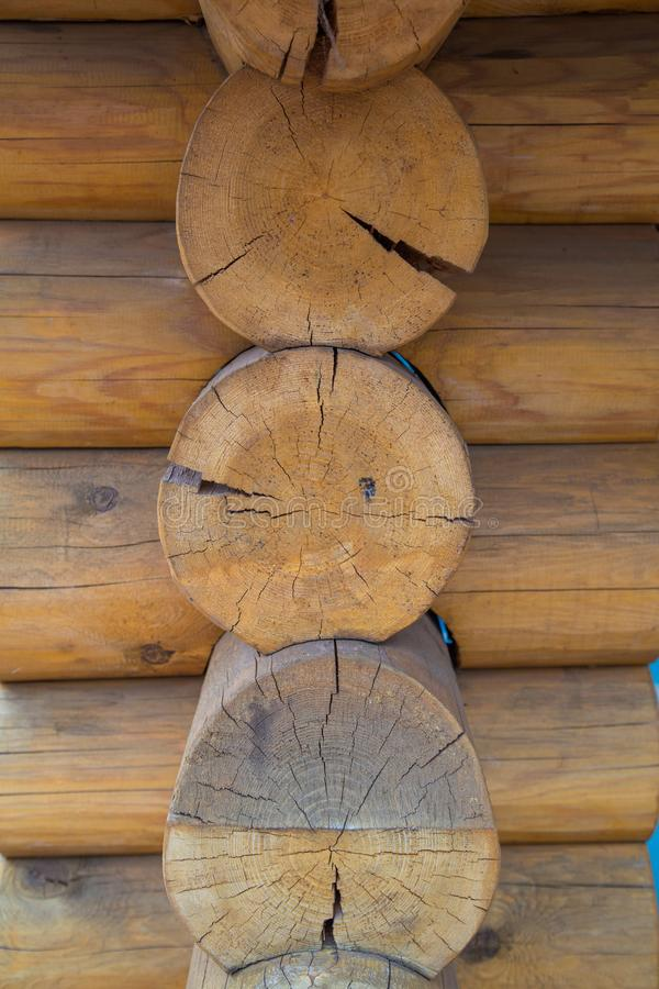Wood log. Detail of the house royalty free stock photography