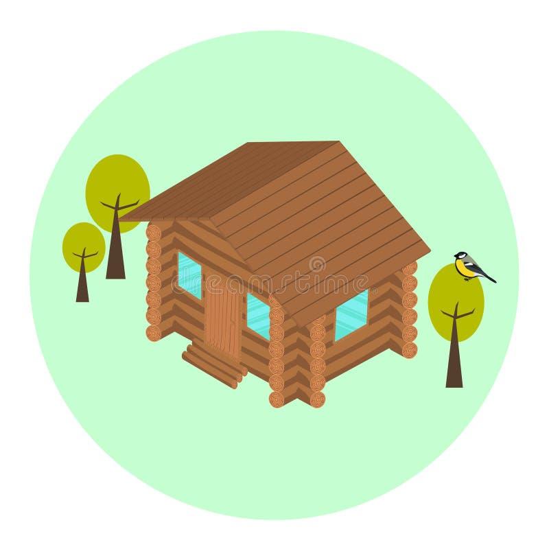 Wood log isometric house icon stock illustration