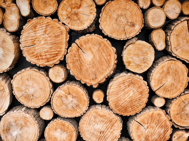 Wood logs background stock photos