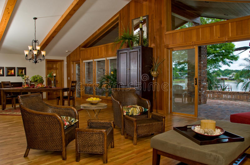 Wood Lover's Dream Dining Room royalty free stock photo