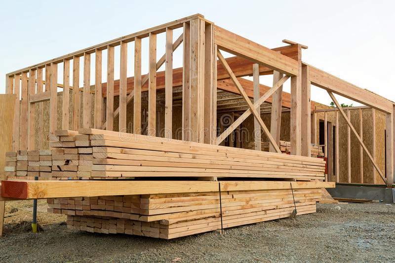 Wood Lumber by House Construction. Wood Lumber Studs and Beams by House Construction Framing royalty free stock photography