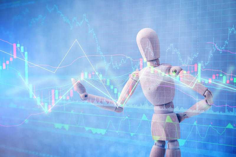 Wood man figure presenting and showing stock chart. On color background royalty free stock photos