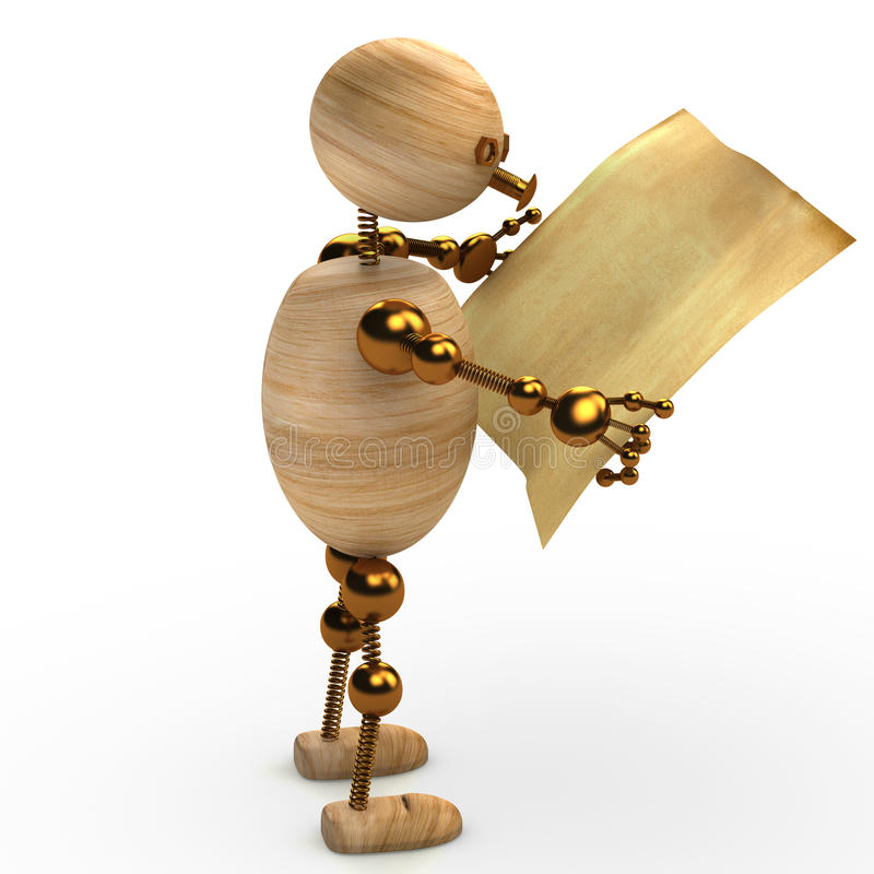 Wood man reading the newspaper 3d rendered stock illustration