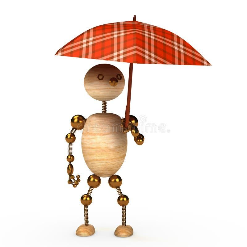 Wood man under umbrella stock illustration