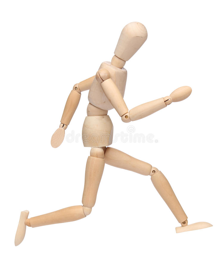 Wood mannequin running royalty free stock images