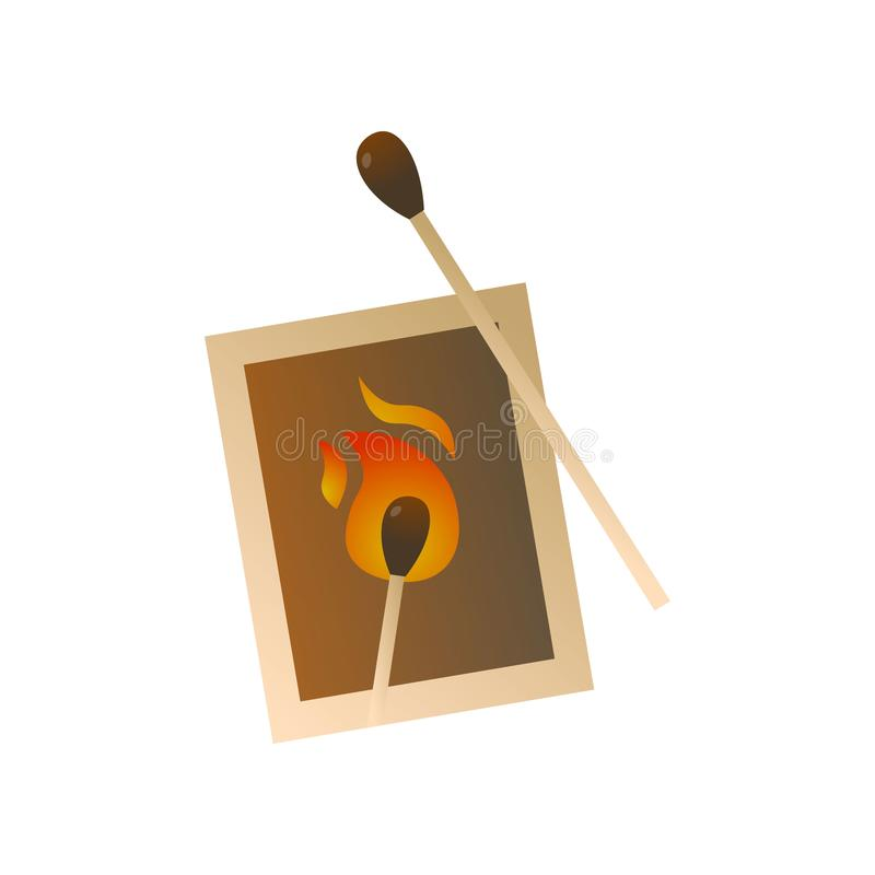 Wood matches pack for bbq fire or campfire for home. Use or in forest. Cartoon style. Vector illustration on white background vector illustration
