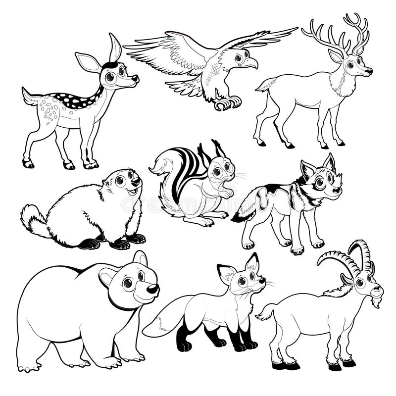 Wood and mountain animals in Black and white royalty free illustration
