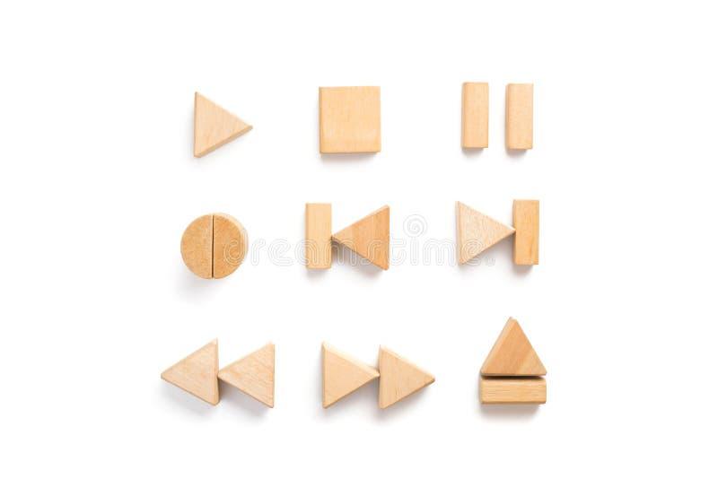 Wood multimedia player icon set. Wood block arranging as multimedia player icon set stock photos