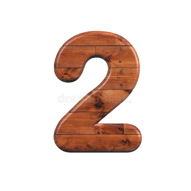 Wood number 2 - 3d wooden plank digit - Suitable for nature, ecology or decoration related subjects stock illustration