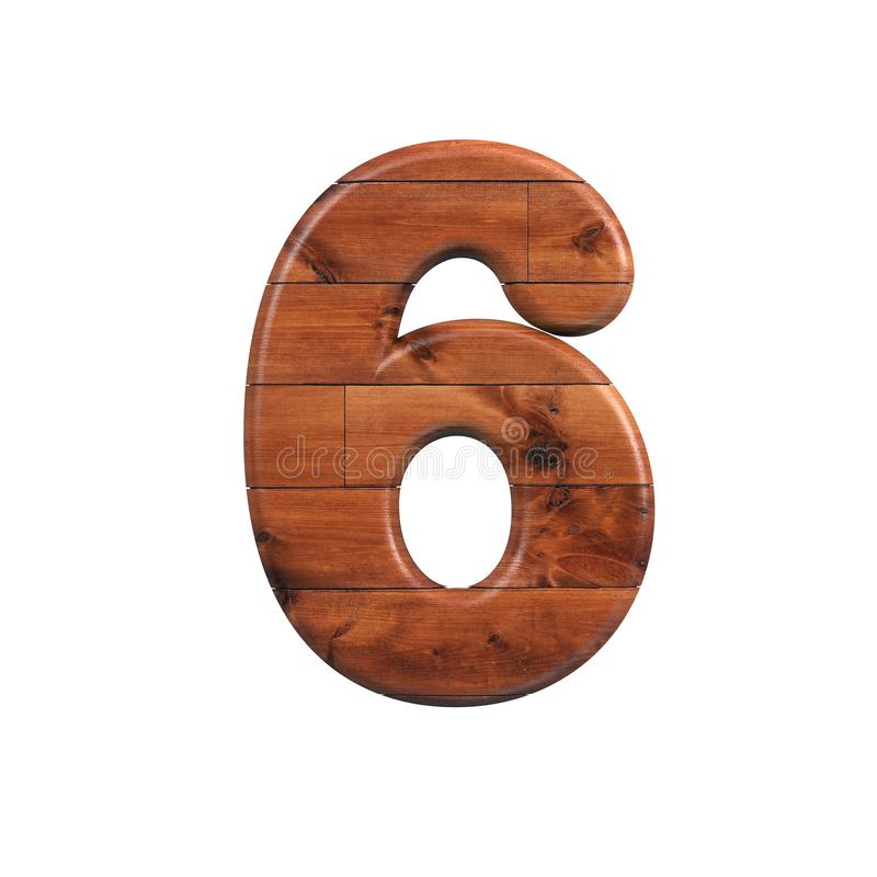 Wood number 6 - 3d wooden plank digit - Suitable for nature, ecology or decoration related subjects stock illustration