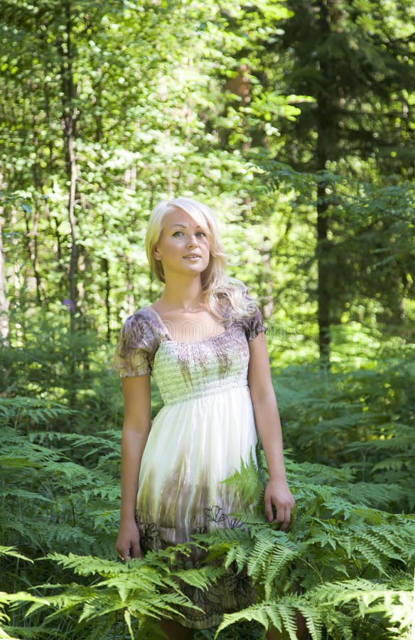 The wood nymph. Young beautiful blonde stands in forest among fern bushes royalty free stock photos