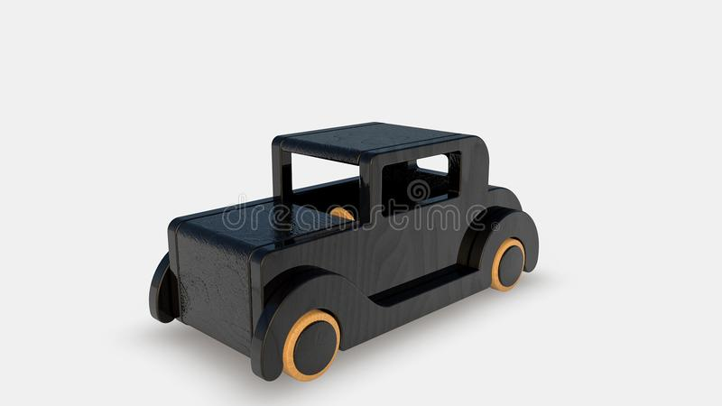 Wood old toy car stock illustration