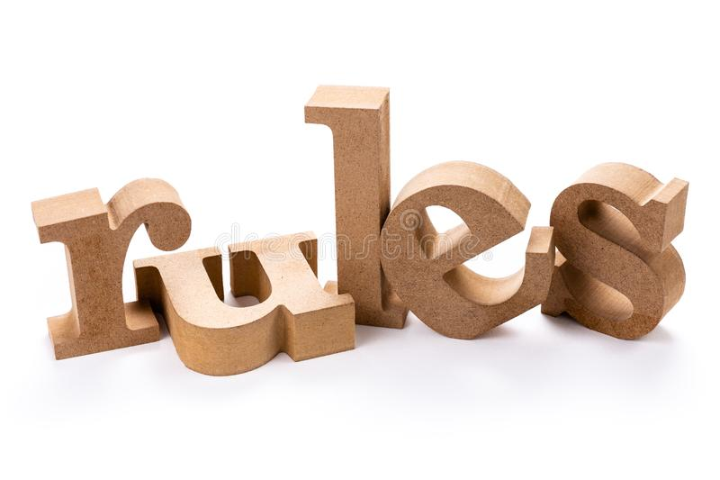 Wood ord för regler arkivfoto