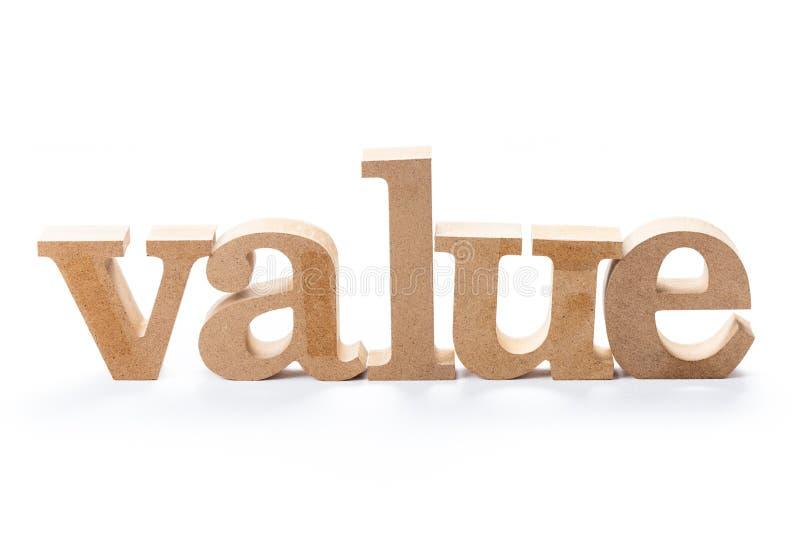 Wood ord för värde arkivbild