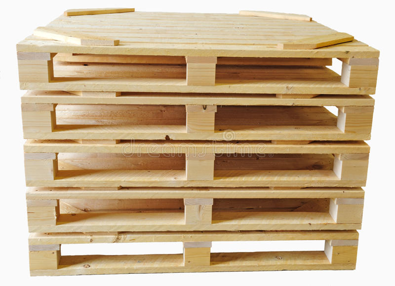 Wood palls. Isolated, five wood cargo palls stock images
