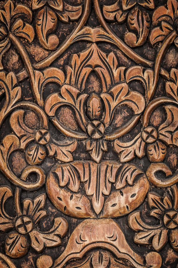 Wood panel carving stock image of style board