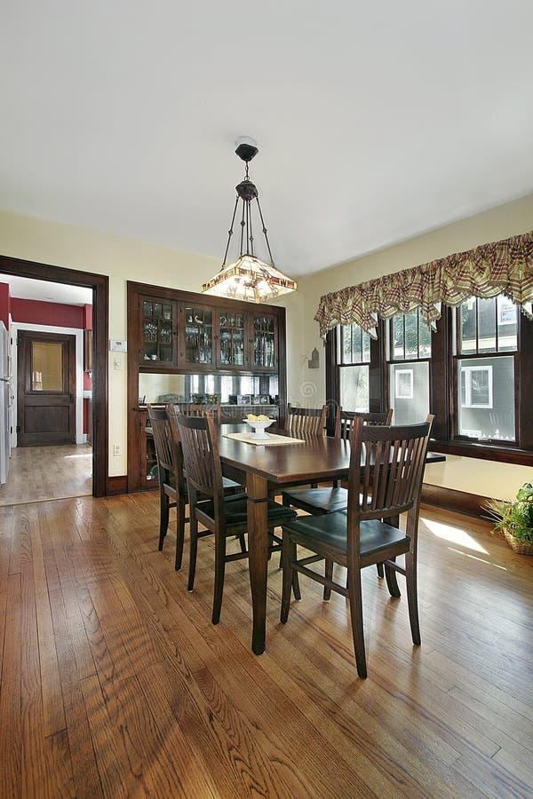 Wood Paneled Game Room: Kitchen With Cherry Wood Island Stock Image