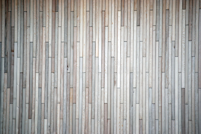 Wood panelling. On the side of a building stock photography