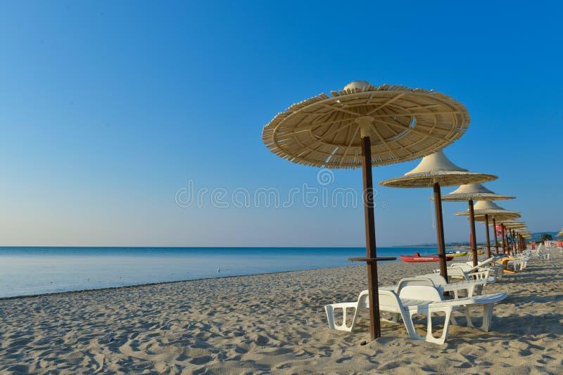 Wood paraply på stranden royaltyfri foto