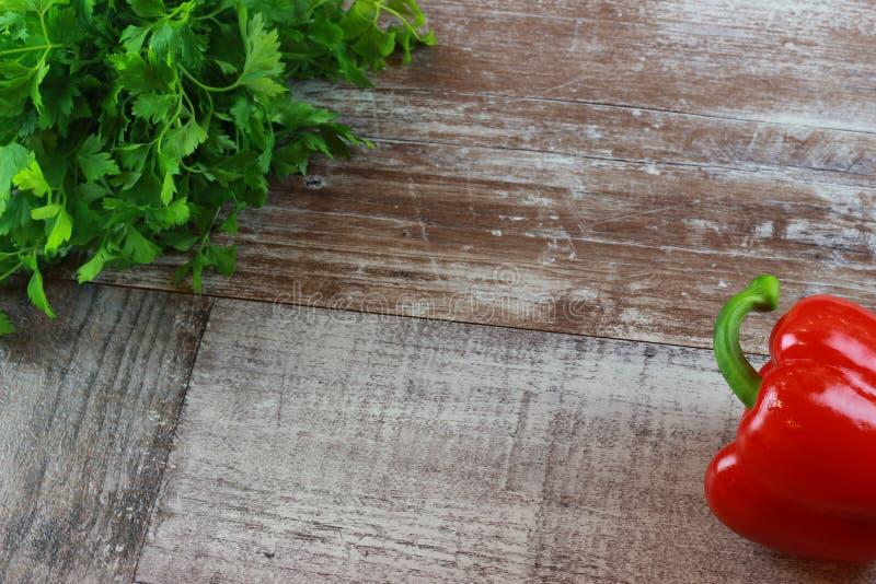 Wood parsley paprika royalty free stock photo