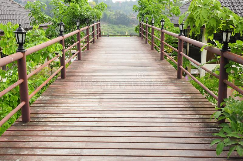 Wood path in the resort stock photos