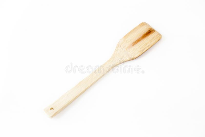 Wood patterns on the wooden spatula. On the table royalty free stock image