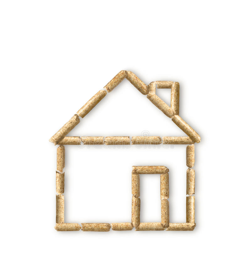 Wood pellet eco-house. Eco house made of wood pellets stock photography