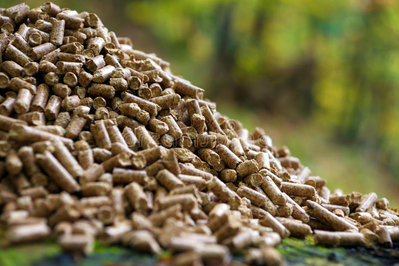 Wood pellets stock images