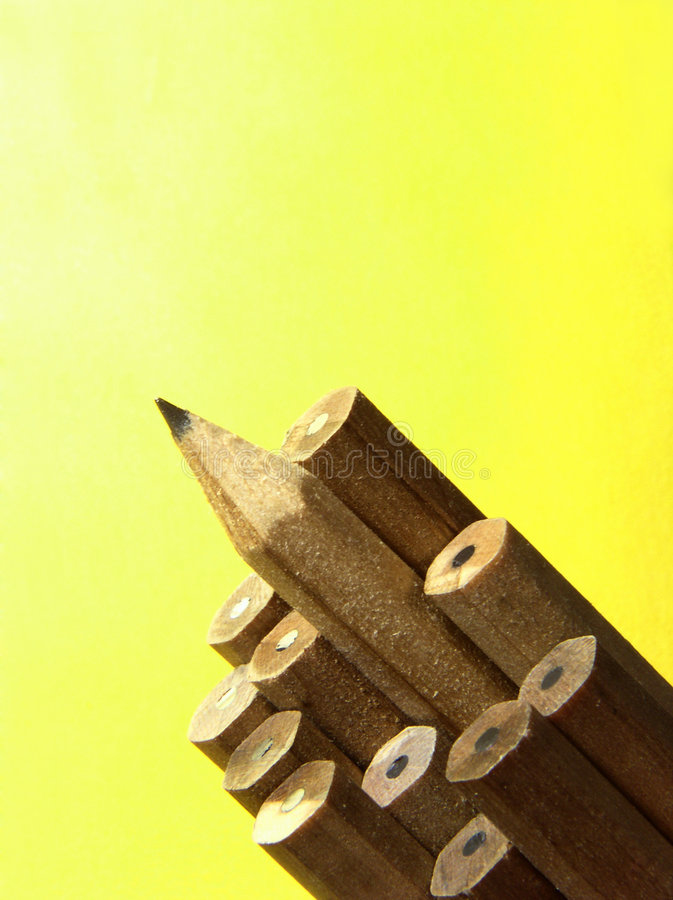 Wood pencils - one sharp stock images