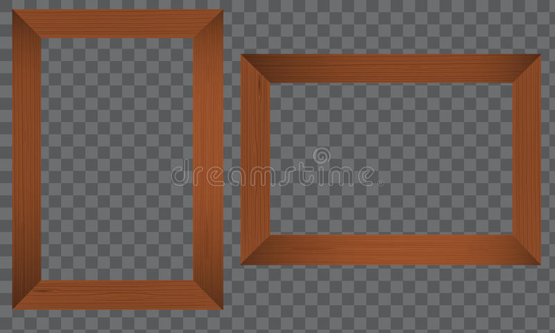 Wood Photo frame. Realistic wooden border. Wood Photo frame. Horizontal and vertical Realistic wooden border on a transparent background. Flat Vector vector illustration